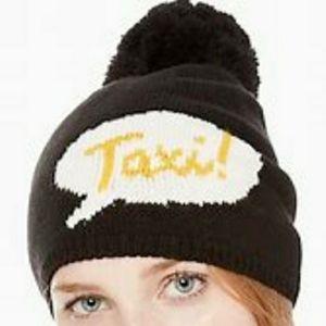 """Kate Spade - Black """"Taxi"""" Pom Pom Beanie Hat New…"""